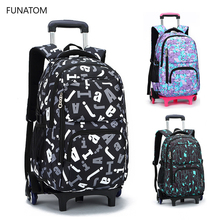 New Fashion Removable Children School Bags Waterproof for Girls Trolley Backpack Kids Wheel Bag Bookbag Travel Luggage Mochilas