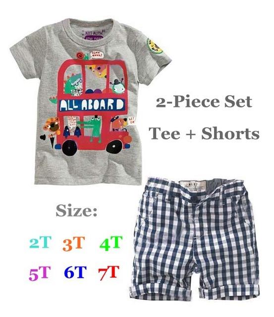 Nuevo 2015 del verano muchachos que arropan la camiseta + Shorts Ropa Bebe Conjuntos Roupas Meninos bebé fijó para niños Ropa para niños