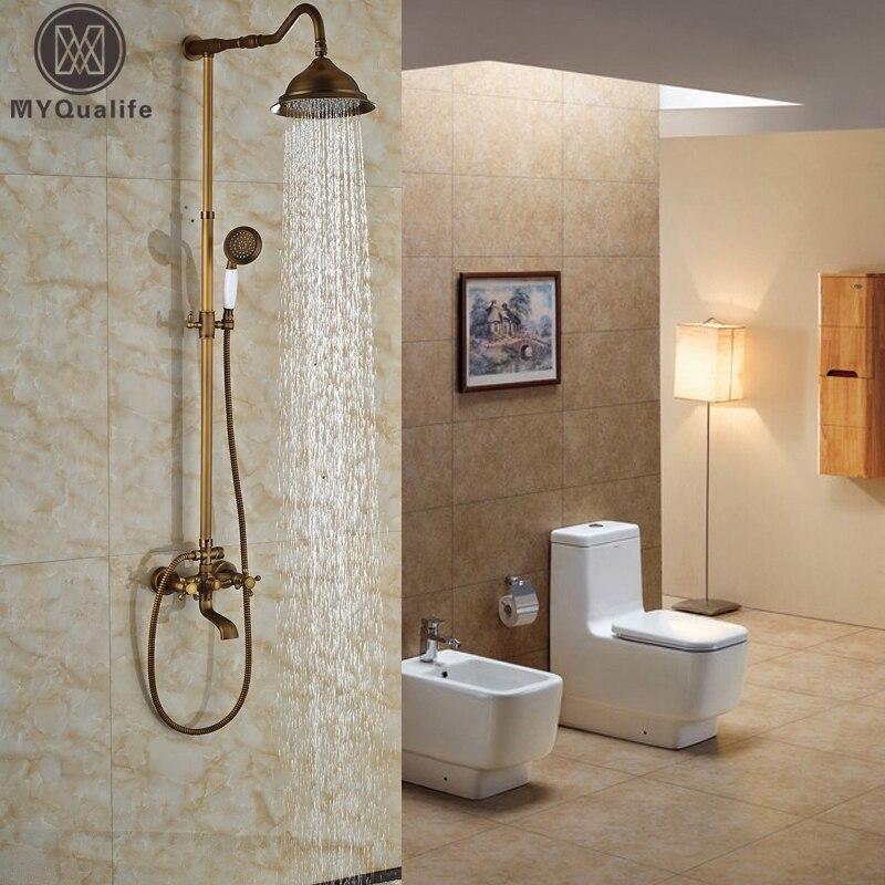 Antique Brass Bathroom Shower Faucet Set 8 Inch Brass Shower Head Ceramic Hand Spray Swive Tub Spout Shower Mixers factory direct sale best price 8 brass head shower with hand shower bathroom shower faucet antique