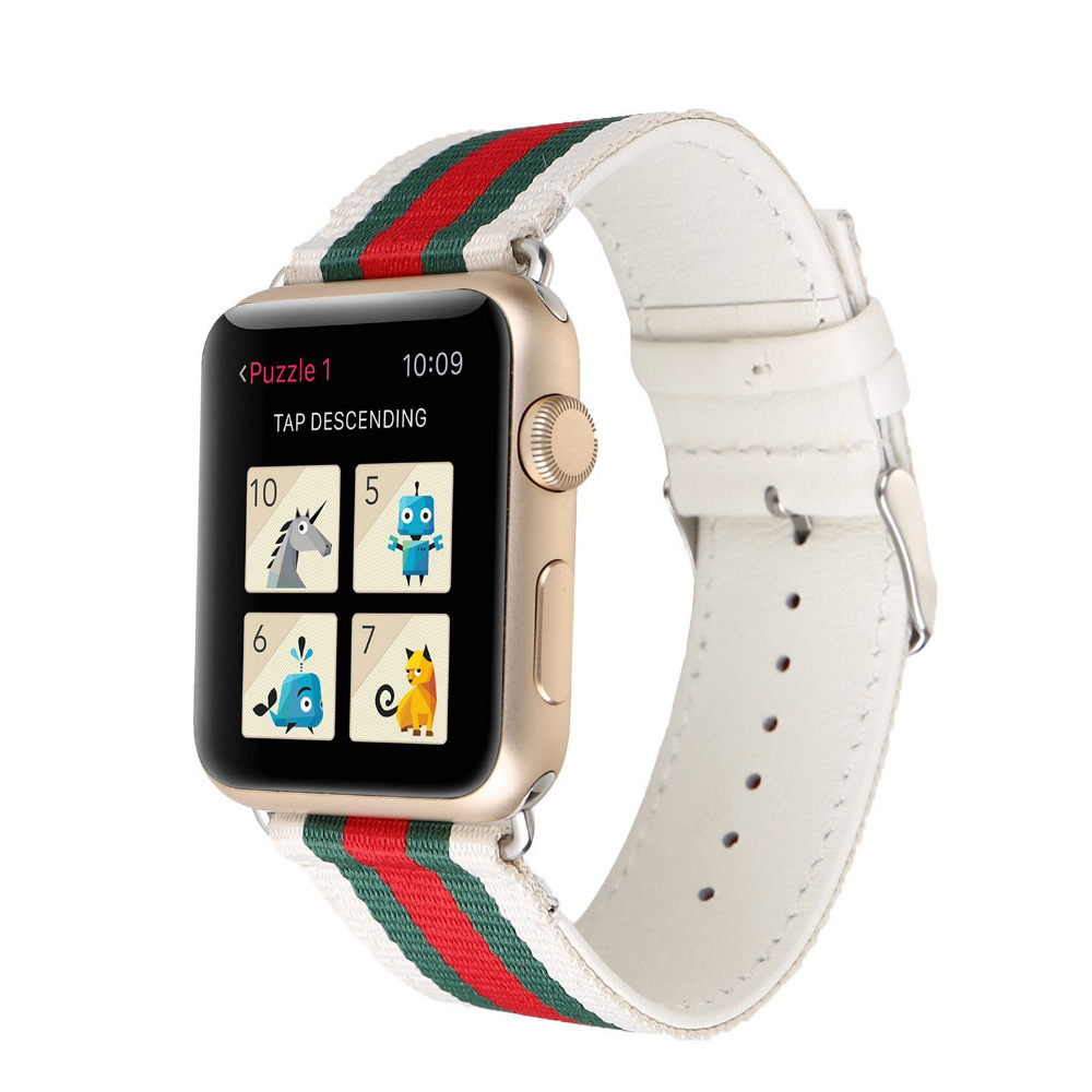 Nylon Leather Strap for Apple Watch Band 42mm 38mm Bracelet Wrist Belt watchband for iwatch bands Series 3/2/1 Accessories Black crested crazy horse strap for apple watch band 42mm 38mm iwatch series 3 2 1 leather straps wrist bands watchband bracelet belt