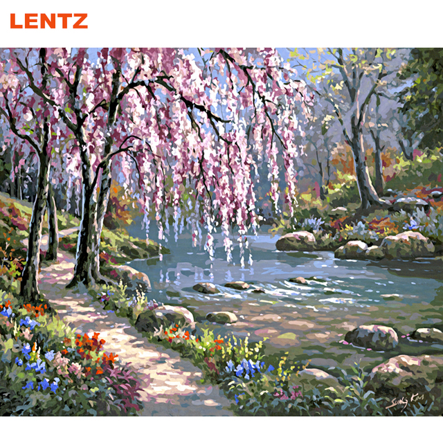 Spring River Flowers Landscape DIY Painting By Numbers Handpainted Oil  Painting Home Wall Decoration Drawing By Numbers 2.0