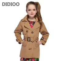 Girls Double Breasted Jackets Children Trench for Girls Coats Kids Solid Outerwear Fall Infant Windbreaker 8 9 12 Years Overcoat