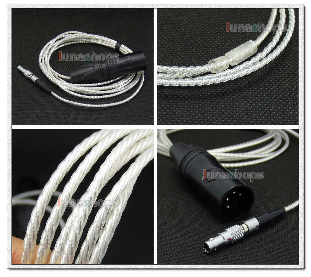 4pin XLR Male PCOCC + Silver Plated 1.3m 2m 2.5m Cable for AKG K812 Reference Headphone Headset LN004733