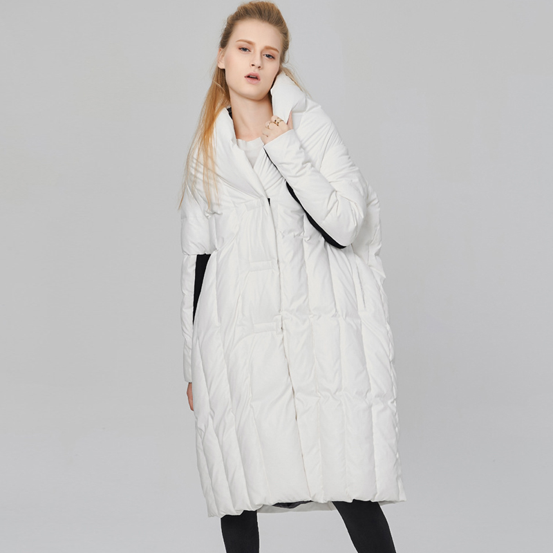 White Duck Down Winter Coat Women's Fashion Quilt Thick Warm Jackets and Coats Panelled European Casual Loose Jacekt Mujer AO084