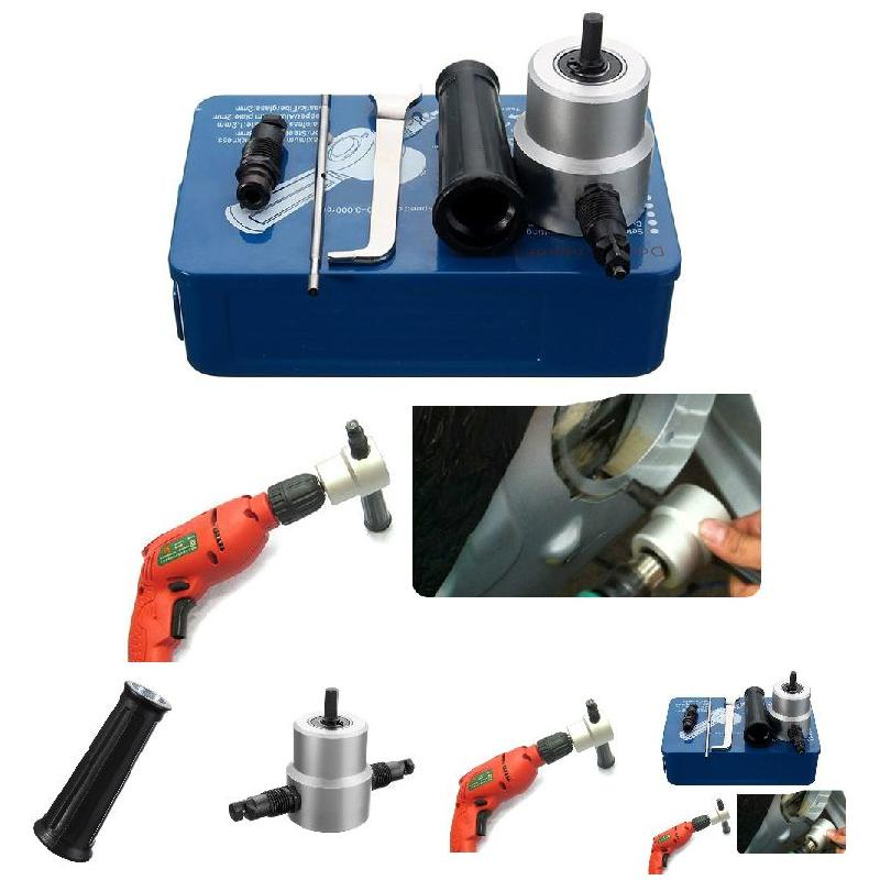 1 Set Double Head Sheet Metal Nibbler Cutter Holder Tool Power Drill Attachment Kits --M25 best price mgehr1212 2 slot cutter external grooving tool holder turning tool no insert hot sale brand new