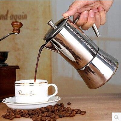 Ze stali nierdzewnej dzbanek stalowy do kawy 304 zestaw do mokki ręcznie gospodarstwa domowego cios garnek filiżanka filtrowa filtr do kawy garnek w Dzbanki do kawy od Dom i ogród na  Grupa 1