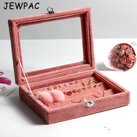 JEWPAC 20*15*5cm Fashion jewelry Accessories Box Plate Stud Earring Earrings Storage Case Ring Wedding Birthday Gift Z10