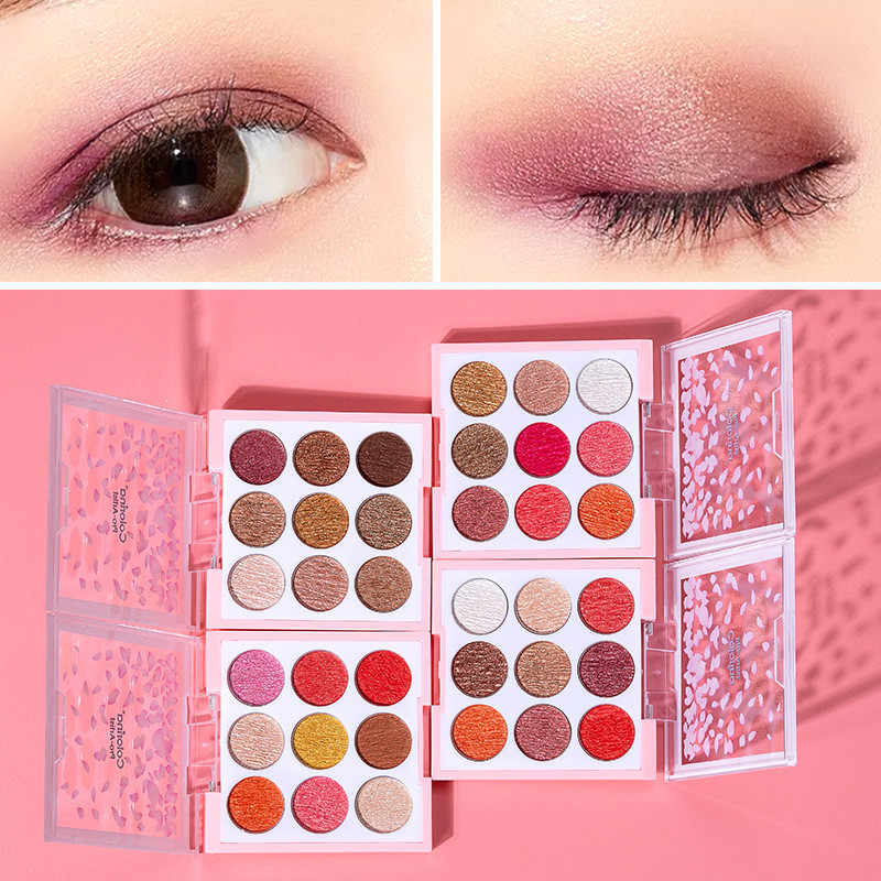 4 Style 9Color Glitter Eyeshadow Palette Pressed Shimmer Matte Eye Shadow MakeUp LongLasting Eye Palette For Beauty Cosmetic