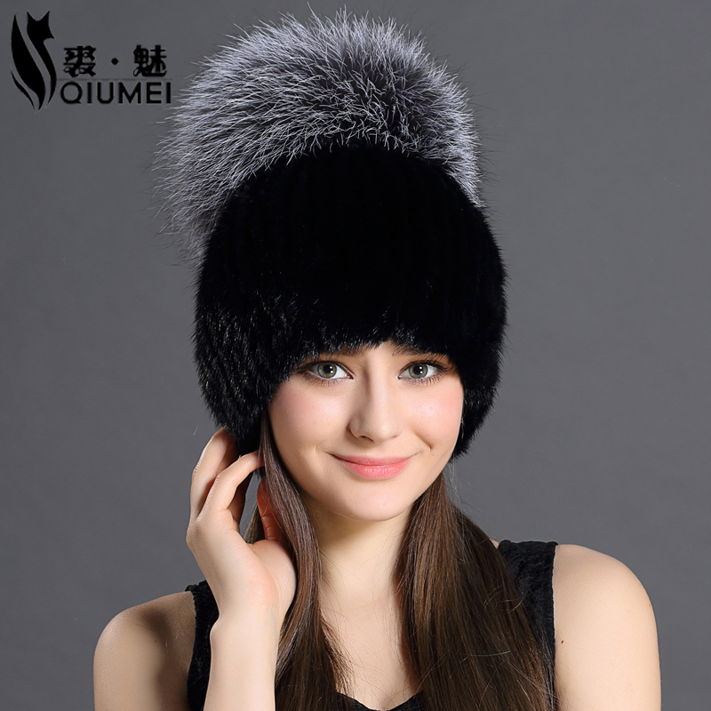 ФОТО Thicken Knitting Hat Solid lined Elastic Russian Beanie With Luxury Fox Fur Pompon Cap Women Winter Real Mink Fur Beanie Hats