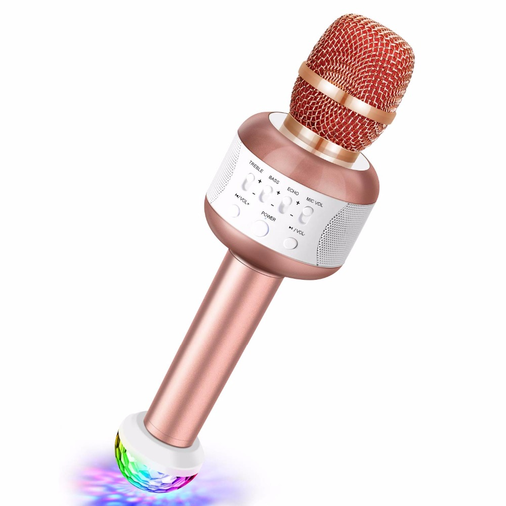 YOTTO Bluetooth Karaoke Wireless Microphone Portable Handheld Karaoke Mic 5W Speaker Free USB Disco Light for