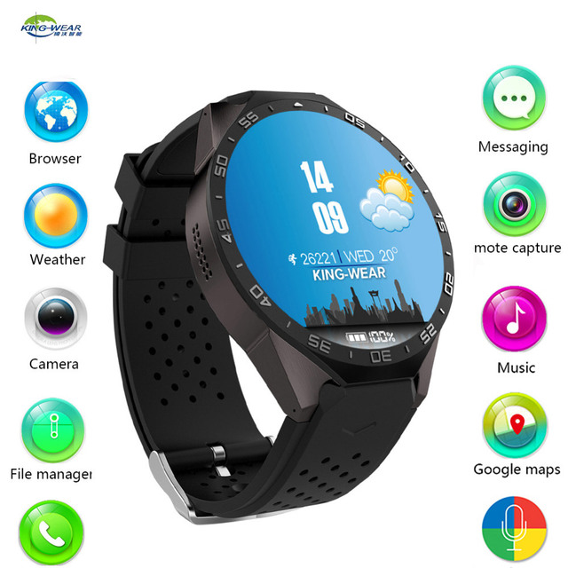 Original kingwear Kw88 android 5.1 OS Smart watch electronics android 1.39 inch SmartWatch phone support 3G wifi nano SIM WCDMA