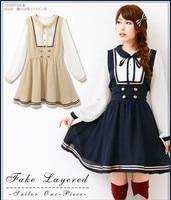 Princess sweet lolita dress Autumn outfit new chiffon institute long sleeved dress doll brought sweet lady sailor dress HT007