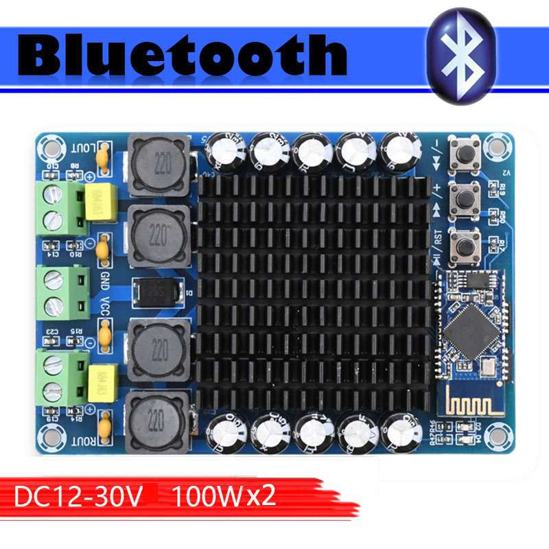 TDA7498 CSR8635 4.1 Bluetooth Class D audio amplifier board Dual Channel 2*100W  power supply DC12 24V-in Amplifier from Consumer Electronics