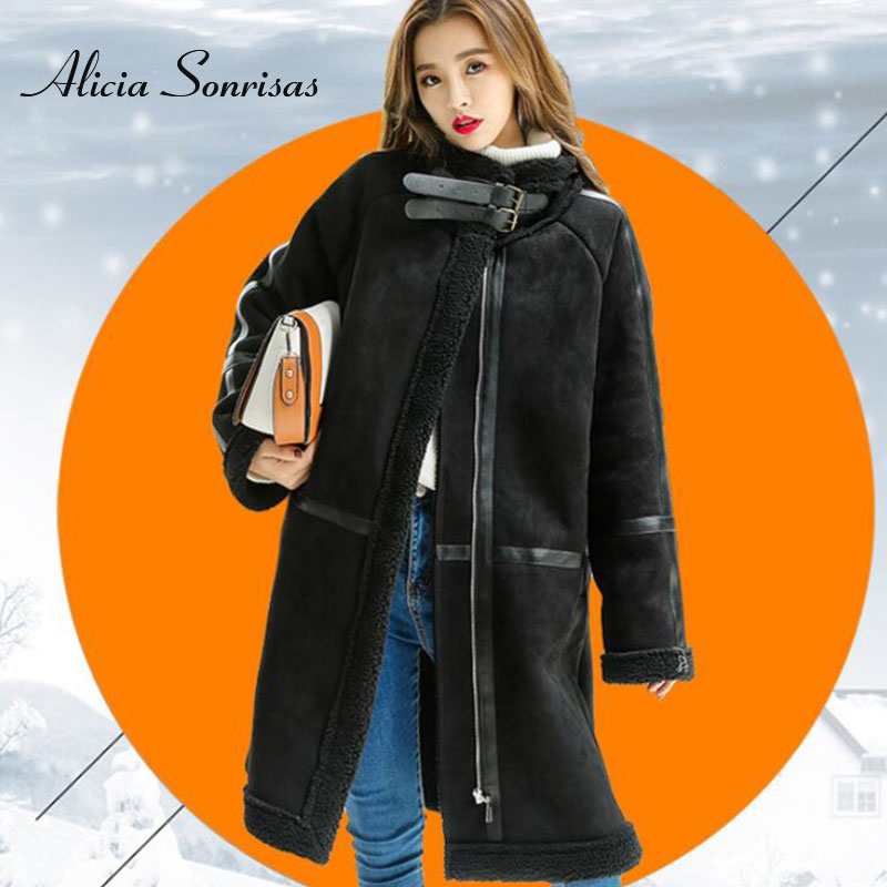 2018 Faux Winter Women's Fur Coat Sheepskin Long Thick Warm   Suede   Jacket 3 Colors Winter Black Cashmere Lamb Fur Coats