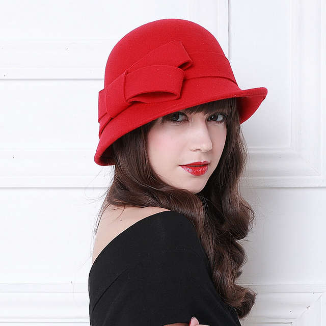 6eb9303786096 Autumn Winter Wool Hats for Women Noble European American Bow Vintage Girls Hat  Fashion Cap Ladies