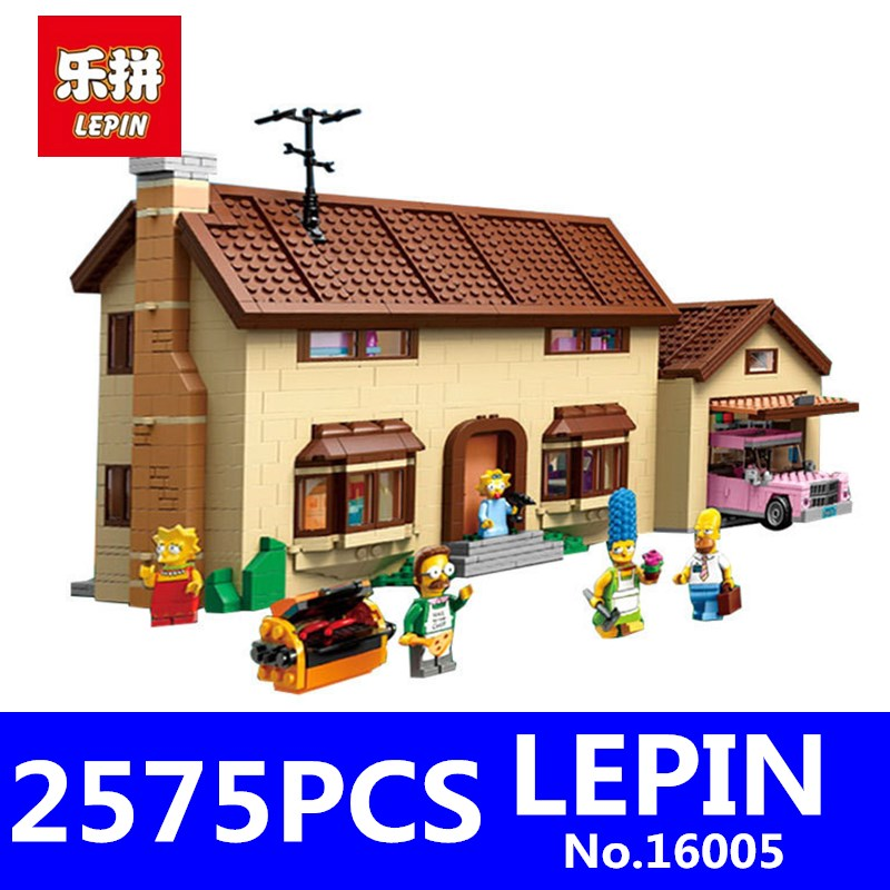 LEPIN 16005 2575Pcs Movie Series Simpsons House Model Building Blocks Bricks Kits Educational Toys for Children Compatible 71006 hc9009 1650pcs pikachu cartoon movie series without original box building blocks diamond bricks toys compatible with loz