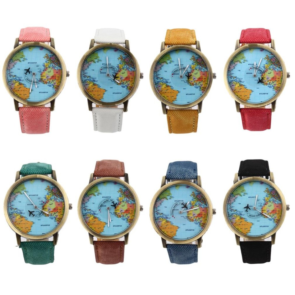 World Map Watch Globe Graduation Gift for lover vintage Men Denim Fabric Band Watch women simple watches best gift reloj hombre