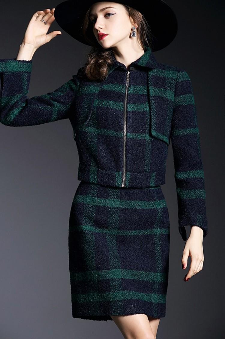 Runway Style High Grade Grid Pattern Woolen Green Skirt Suits Autumn Winter 2015 (14)