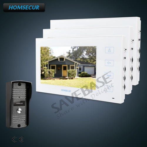 HOMSECUR 7 Wired Hands-free Video&Audio Smart Doorbell with White Monitor 1C3M