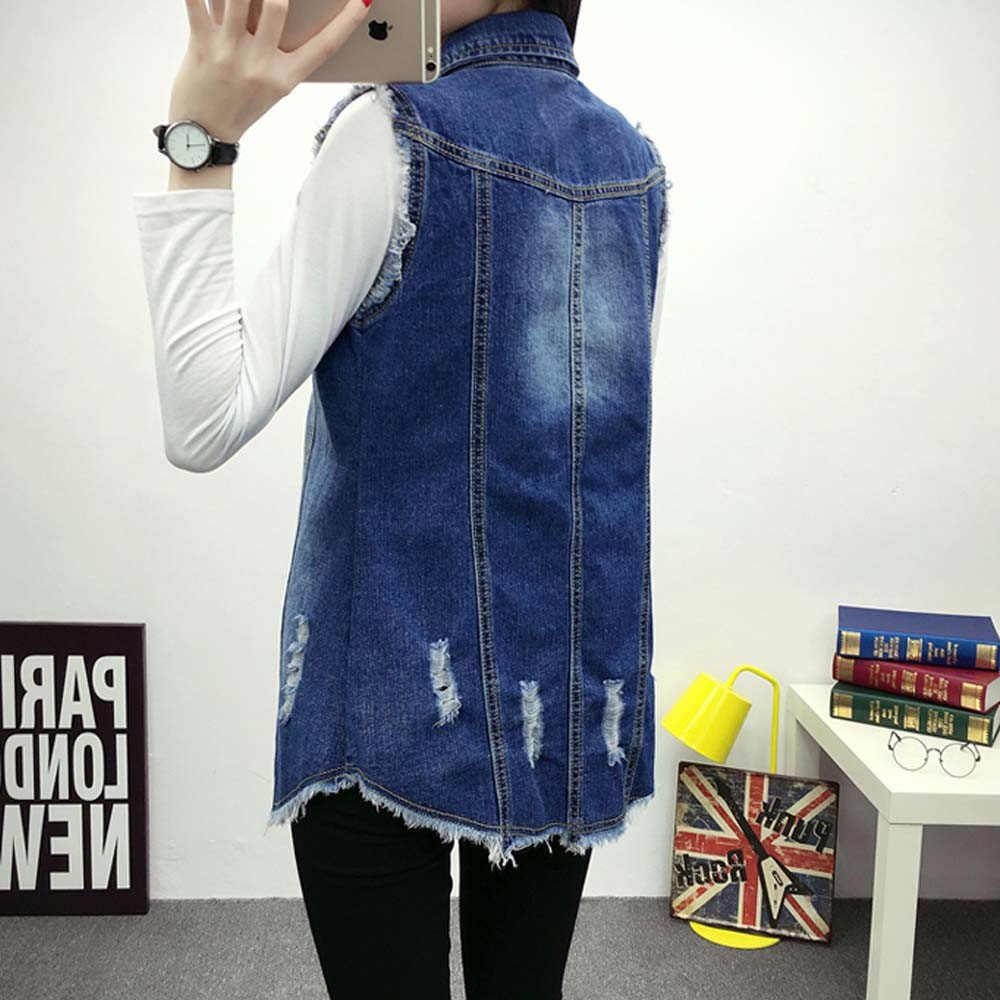 2016 Denim Vest Women Autumn Hole Sleevelesses Coat Frayed Long Waistcoat Jacket Colete Jean Feminino Chalecos Mujer