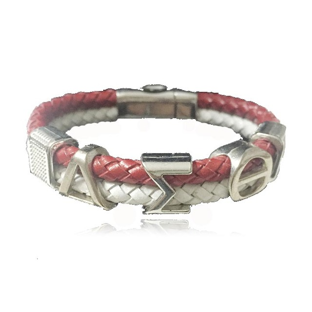 Customized Alpha Style Jewelry Gift Dst Sorority Divine Fraternity Delta Sigma Theta Leather Magnetic Bracelet Bangle