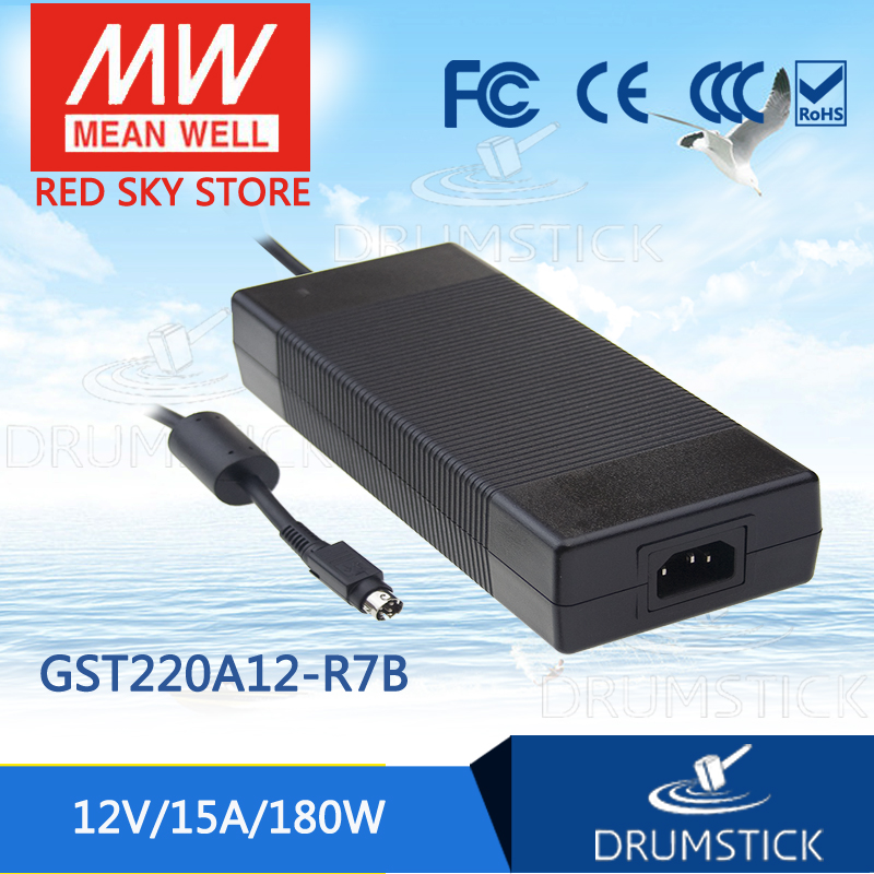 Selling Hot MEAN WELL GST220A12-R7B 12V 15A meanwell GST220A 12V 180W AC-DC High Reliability Industrial Adaptor hot mean well gsm60a12 p1j 12v 5a meanwell gsm60a 12v 60w ac dc high reliability medical adaptor