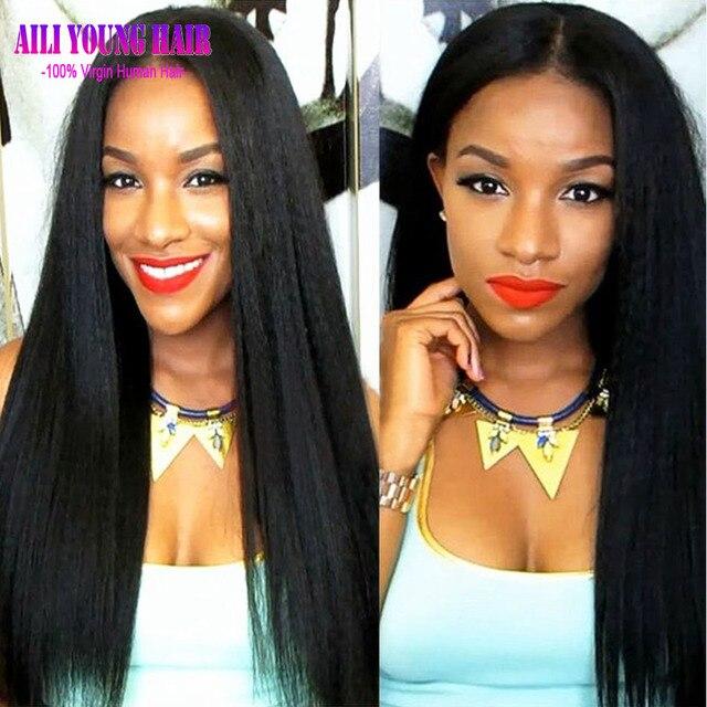 Italian Yaki Wig Glueless Full Lace Human Hair Wigs Virgin Brazilian Human Hair Yaki Straight Lace Front Wigs For Black Women