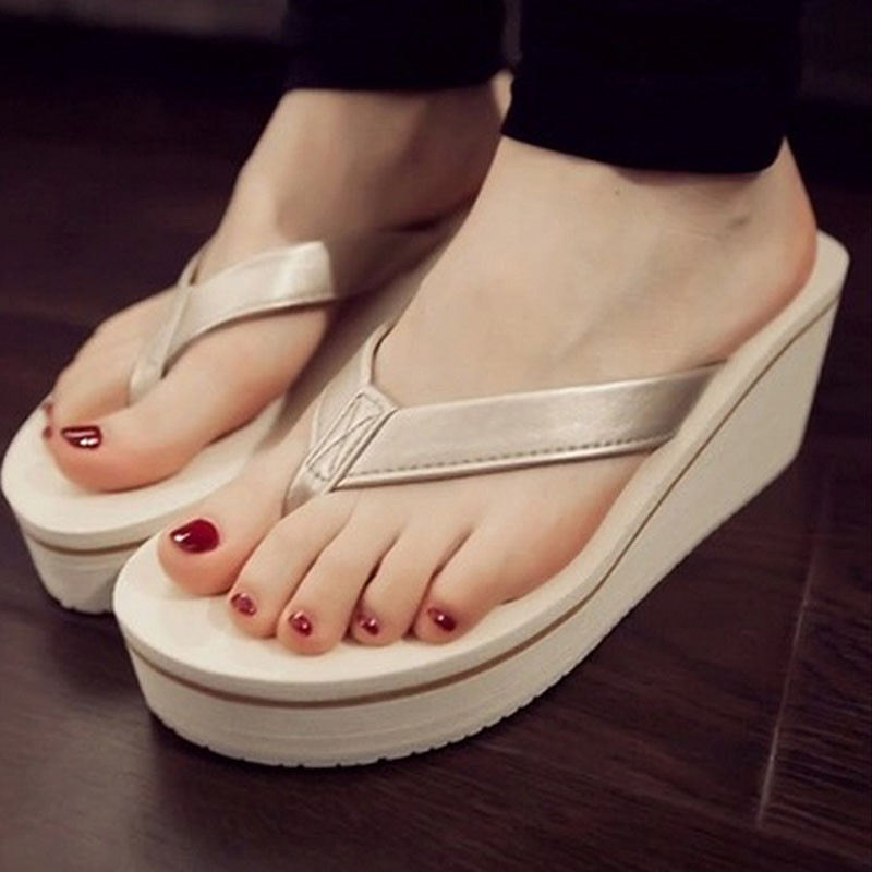 Summer Sandals Casual Beach Slippers Summer Sexy Flip Flops Women Sandals Bohemian Muffin Slope With Sandals kuyupp fashion leather women sandals bohemian diamond slippers woman flats flip flops shoes summer beach sandals size10 ydt563