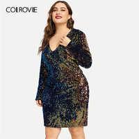 5f6dc800b74 COLROVIE плюс размер v-образный вырез Радужное блестящее вечернее платье  женское 2019 весеннее модное повседневное