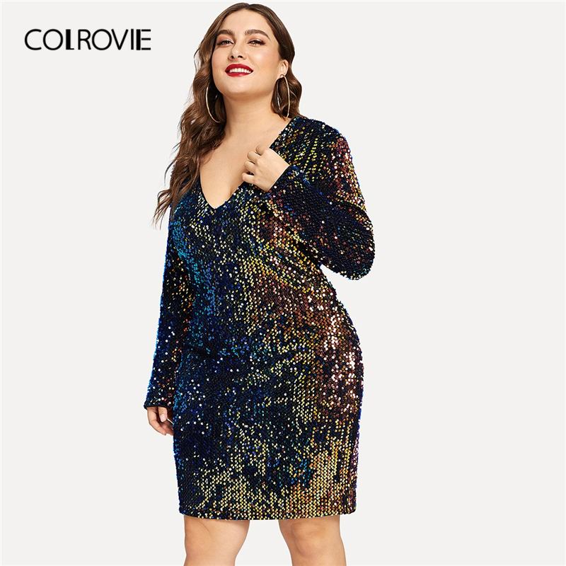 b1714ac1 COLROVIE Plus Size V-Neck Iridescent Sequin Party Dress Women 2019 Spring  Fashion Casual Long