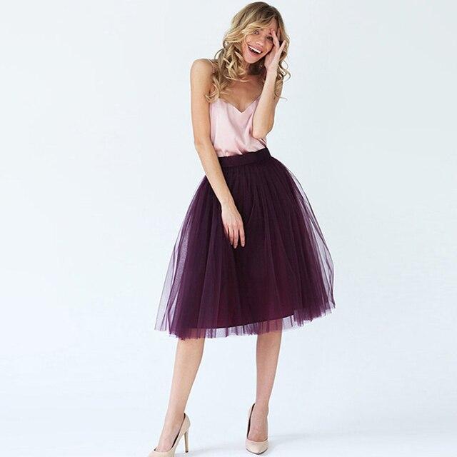 4106b6c163 Dark Grape Purple Soft Tulle Skirts For Lady 2017 New Arrival Midi Tutu  Skirt Women Bottom Falda Zipper Style Fashion Clothing