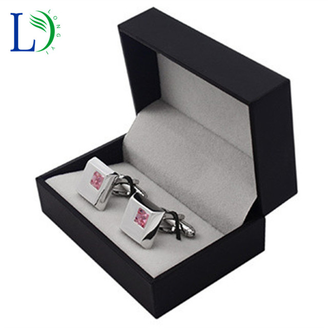 Hot Sale Black Cufflinks Box Gift Storage Case Suit For 1 Pair Cuff Jewelry  Plastic Special