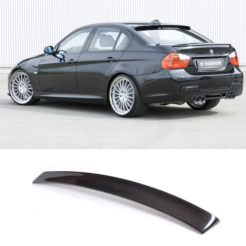 E90 HM Styling Carbon Fiber Rear Roof Lip Wing Spoiler for BMW 2005 2012