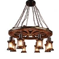 Лофт большая люстра промышленный стиль, ретро гостиная ресторан магазин одежды диск 8 головы массивная деревянная лампа нордическая ностал