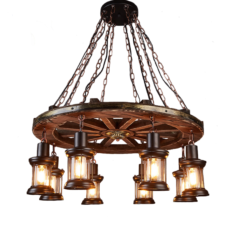 Loft big chandelier Industrial wind retro living room restaurant clothing store disc 8 head solid wood lamp Nordic nostalgia european style retro glass chandelier north village industrial study the living room bedroom living rough bar lamp loft