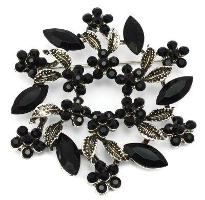 2 дюйма под бронзу Винтаж брошь с завитками с красным Хрустальные Стразы Свадебная вечеринка брошки с цветами - Окраска металла: Black