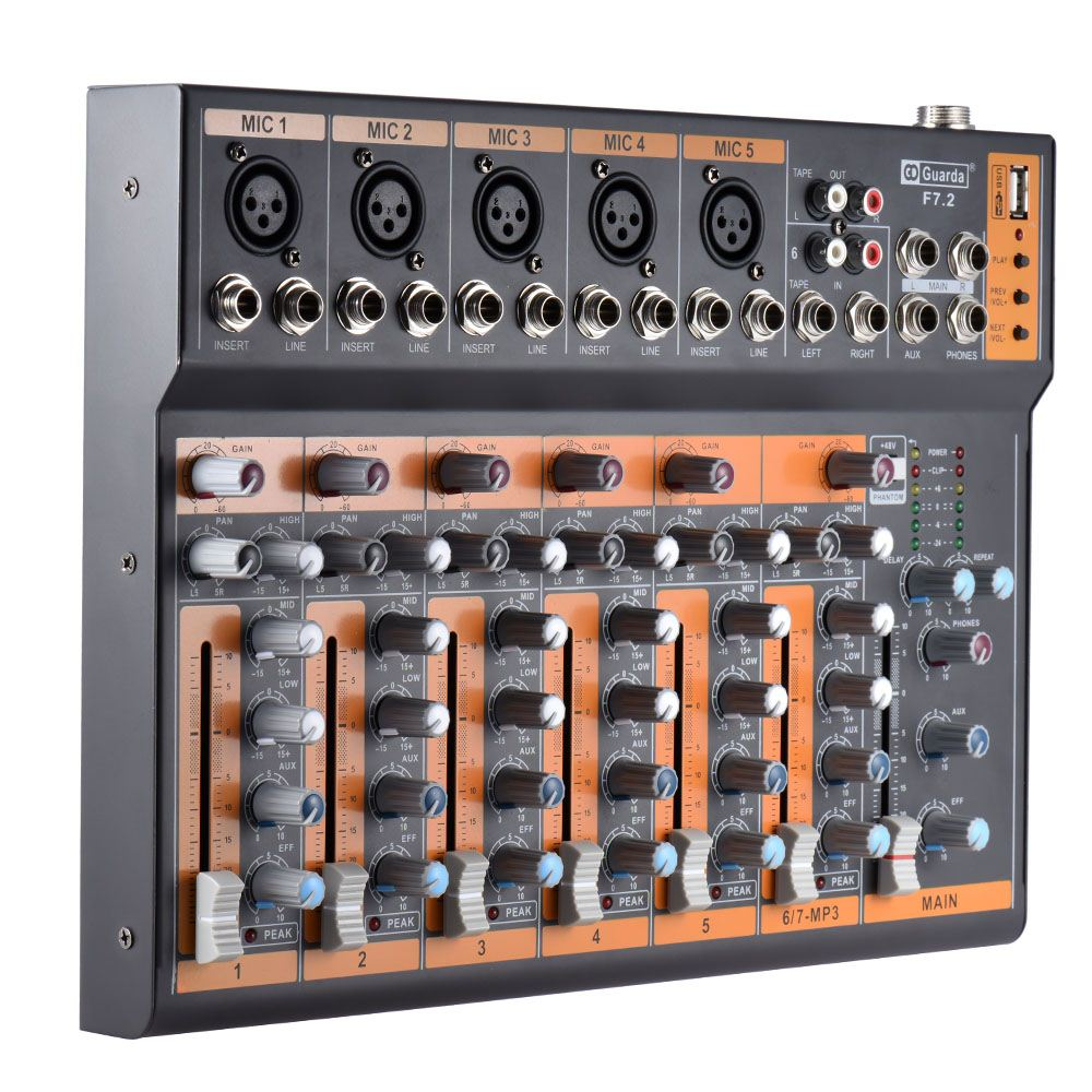 Portable 7-Channel Mic Line Audio Mixer Mixing Console 3-band EQ USB Interface 48V Phantom Power with Power Adapter моющий пылесос ghibli power line power extra 7 i auto 16254010001