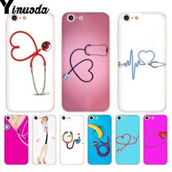 Funda de teléfono Rosa Yinuoda con estetoscopio para enfermera de hospital para iPhone 8 7 6 6S Plus X 5 5S SE XR XS XSMAX11 11pro 11promax