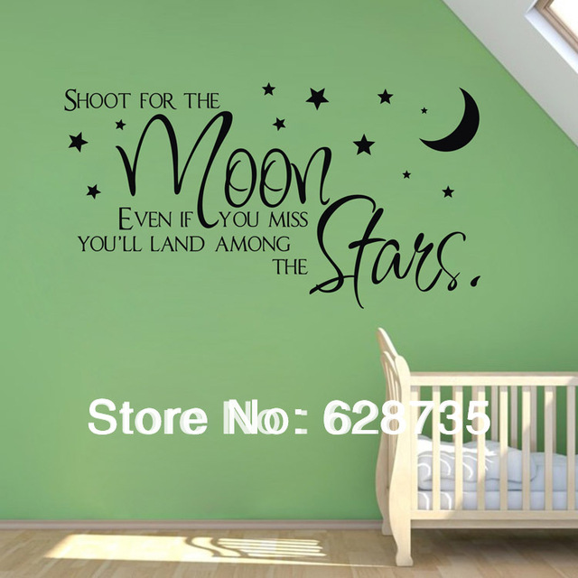 Sale On Ebay Shoot For The Moon Stars Quote Wholesale Wall Stickers For Kids Room