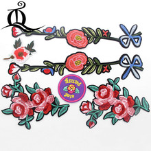 1PCS Patch cartoon rose flowers Embroidered Cute Patches Iron On Cartoon Patches For Clothes Kids Jeans Applique Badges 284