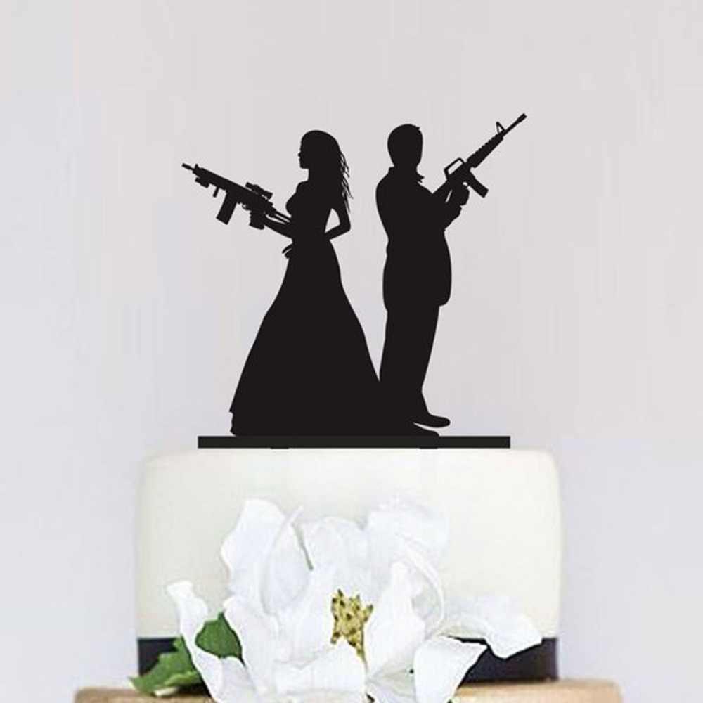Gun Wedding Cake Topper Armed Couple Silhouette Cake Topper Unique Cake Topper Bride And Groom Wedding Party Decor Supplies Aliexpress