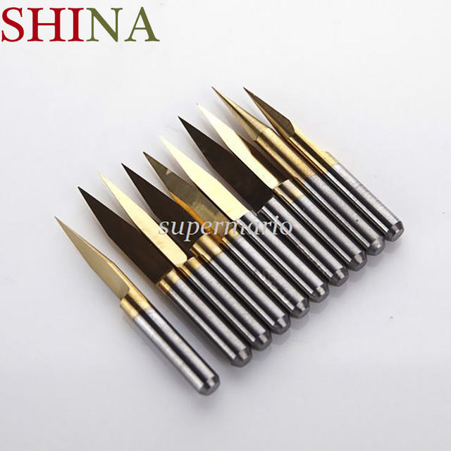 10x Milling Cutters Titanium Coated Carbide PCB Engraving CNC Bit Router Tool 3.175*10 Degree 0.1mm Tip End Mill