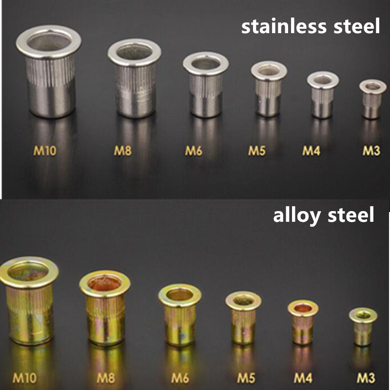 120Pcs M3 M4 M5 M6 M8 M10 Alloy Steel / Stainless Steel Flat Head Rivet Nuts Rivet Insert Nutsert Cap