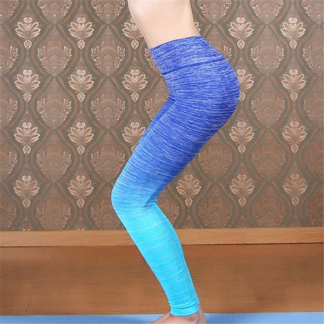 2016 New Fashion New Cotton Rose Grey deporte Women Leggings Gradient Ramp Lady High Waist Stretched Pants Wear Trousers K082