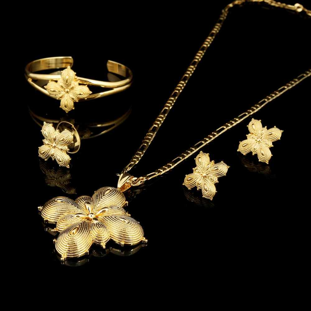 مجموعة 14 k من الذهب الصلب الانتهاء من المجوهرات الأفريقية/الإثيوبية/الإريترية/هابيشا مجموعات المجوهرات الثقيلة قلادة الإسورة الأقراط الدائرية