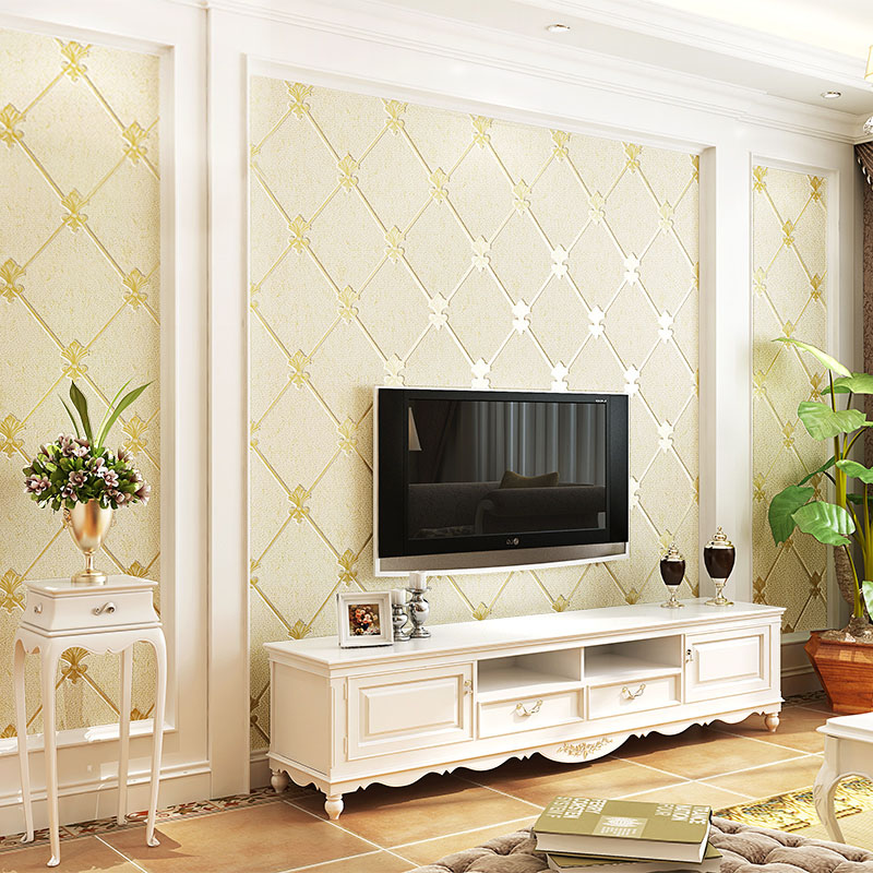 European Style Living Room TV Background Wall Decoration Wallpaper 3D Thickening Non-woven Damp-proof Wallpaper Papel De Parede beibehang european style non woven wallpaper thickening 3d three dimensional precision damascus bedroom living room background w