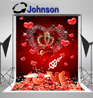 Valentine's Day Love sparkly Red Heart red rose flower background Vinyl cloth Computer print wedding photo backdrop