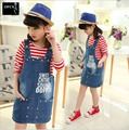 Free Shipping 2016 New Children's Clothing Female Kids Child Autumn Child Long-Sleeve T-shirt Denim Braces Skirt Twinset Age5-15