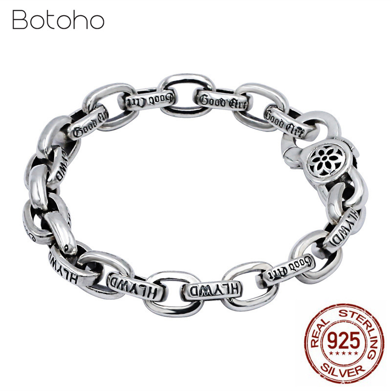 100% 925 Sterling Silver Bracelet for Men Retro Punk Creative Chain Link Man Bracelets Thai silver Fashion Jewelry Free Shipping 2018 thai silver jewelry 925 sterling silver men bracelet male domineering personality retro fashion chain link charm bracelet