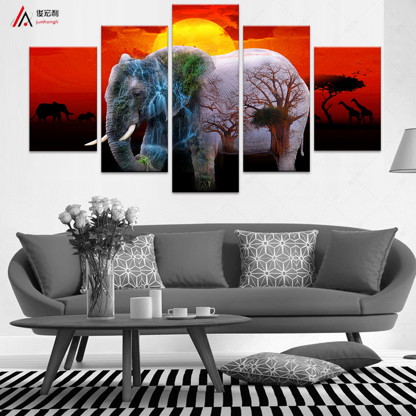 5 Large Modern Printed Elephant Oil Painting With Panels